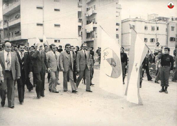 1978 - Camille Chamoun passe en revue les troupes du PNL pendant une cérémonie